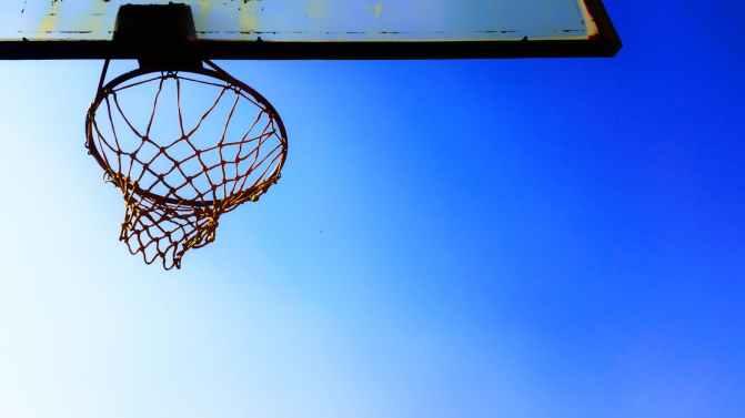 basketball hoop blue sky clear sky clouds